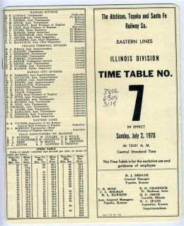 Atchison Topeka and Santa FE Railway Company Employee Time Table July