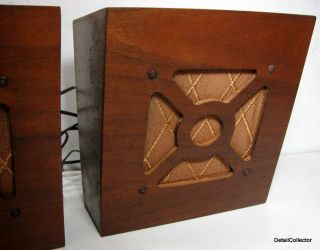 Vtg Art Deco Wood Speakers Wall Mount Hanging School Antique Radio 30s