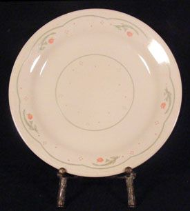 Corelle Corning Calico Rose Salad Plates Beige Pink Roses Green Dots