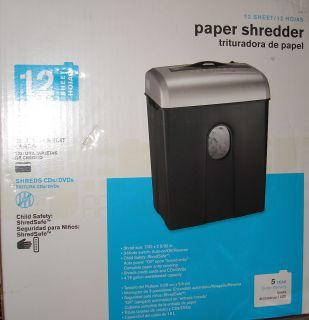 Aurora 12 Sheet Cross Cut Paper Shredder Document Credit Card CDs