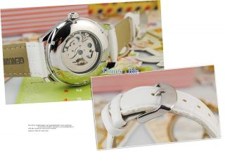 White Skeleton Heart Dial Automatic Watch Women Lady Leather