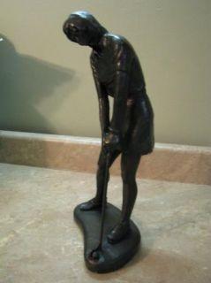 Austin Sculpture Statue Lady Golfer Putting 1975 Vtg