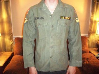 MACV ASA Vietnam Era OD Green Named Shirt Beautiful Cut Edge Patches