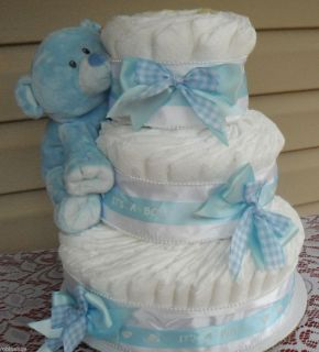 Blue Gingham Diaper Cake Baby Shower Decorations Baby Shower Gift