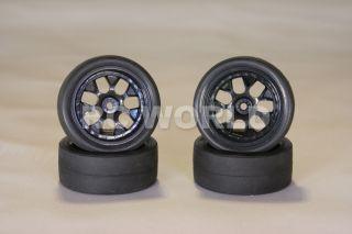 RC 1 10 Tamiya Car Tires Wheels Rims Package Silver Racing Slicks