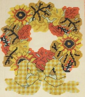 Autumn Sunflowers Fall Leaves Wreath Plastic Canvas Kit NIP 11x13