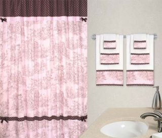 JoJo Pink French Country Toile Shower Curtain Towel Set