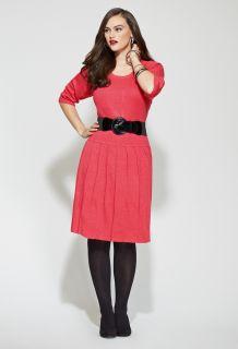 Avenue Plus Size Belted Rib Sweater Dress