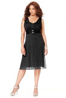 Avenue Plus Size Black Rhinestone Embellished Chiffon Dress