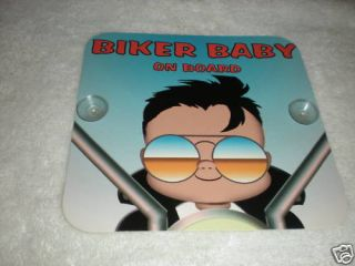 Biker Baby on Board Safety Car Window Sign Decor