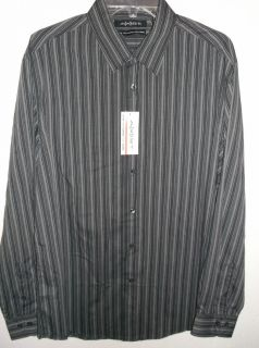 Mens Axist Black Striped Long Sleeve Shirt Size XL NWT