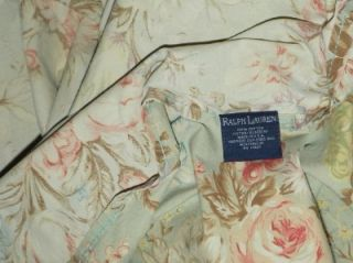 Ralph Lauren Green Floral Charlotte Queen Flat Sheet