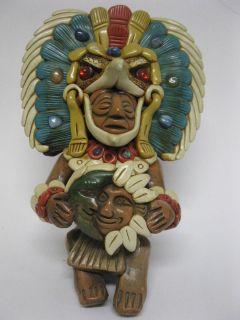 Aztec Mayan Eagle Warrior God Terra Cotta Stone Statue Folk Art