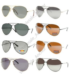 AVIATOR Sunglasses (8 LOT) Black/Silver/Gold, Driving Lens, Mirror