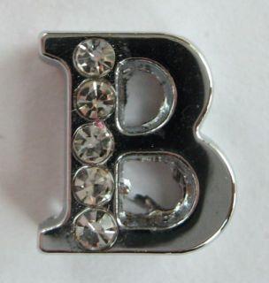 Half Clear Swarovski Crystal Alphabet Letter B Pendant 170A