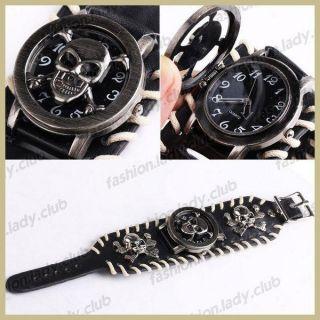 Punk Rock Skull Leather Band Knit Women Men Unisex Bracelet Cuff