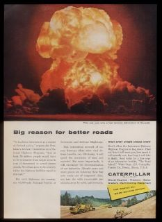 1958 GREAT atomic bomb mushroom cloud explosion photo Caterpillar