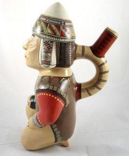 Cusco Peru Aztec Maya Inca Warrior Ceramic Spout Vessel Aquilino