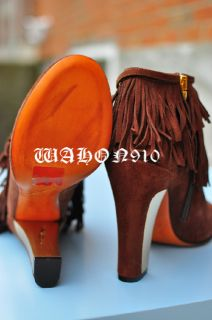 Brian Atwood F w 2011 Pembra Suede Fringe Ankle Boots