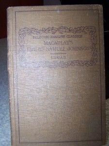 Antique Book Macaulays Life of Samuel Johnson English Classics 1910