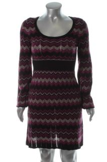 Inc New Status Purple Metallic Zig Zag Pattern Bell Sleeves
