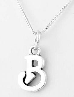 Silver Cursive Initial Letter B Pendant w Box Chain Set