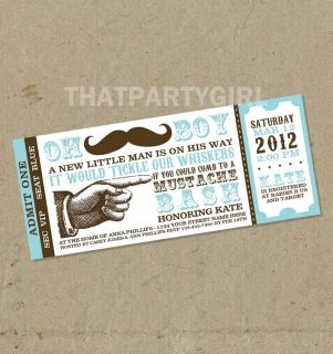 Mustache Bash Baby Shower Boy Birthday Ticket Invitations Party Favors