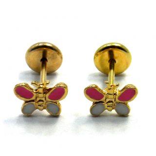 Gold 18K GF Little Earrings Pink Butterfly Earrings Baby Girl High