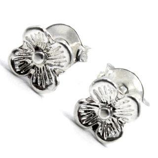 Flower Earrings Baby Girl Infants 5mm Sterling Silver 925 Push Back