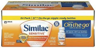 Similac Sensitive Ready to Feed Baby Formula 8 oz 24 Pack zTS