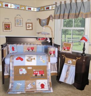 Baby Boutique Fire Truck 15 Pcs Boy Crib Baby Bedding Set
