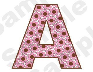 Pink Brown Flowers Alphabet Letters Name Baby Girl Nursery Wall