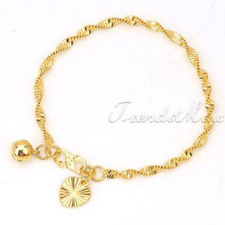Baby Chain GF Jewelry 18K Gold Filled Heart Bell Charm Bracelet