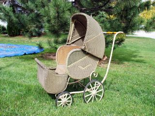 Vintage Antique 1920 to 1930s Wicker Baby Stroller