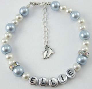 New Born Baby Blue Boy Girl Shower Charm Bracelet Gift Bag UK