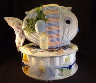 Ocean Fish Diaper Cake Baby Shower Gift Centerpiece