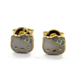 Gold 18K GF Earrings Small Baby Blue Hello Kitty Enamel Girl Infants