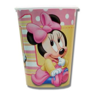 Disney Baby Minnie Mouse Girl 1st Birthday Party Paper Cups Tableware