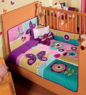 BABY PINK PURPLE BUTTERFLY SWEET GARDEN CRIB BEDDING NURSERY QUILT SET