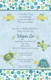 Cocalo Turtle Reef Baby Shower Invitation Boy Blue Ocean Fish