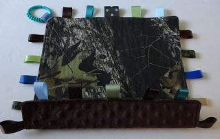 Baby Mossy Oak Camo Super Soft Brown Minky Ribbon Taggie Tag Security