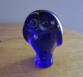 Baccarat France Crystal Glass Cobalt Blue Owl Figurine Paperweight