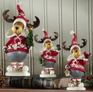 Set 3 Alpine Reindeer Sculptures Red White Sweaters Hats Christmas New