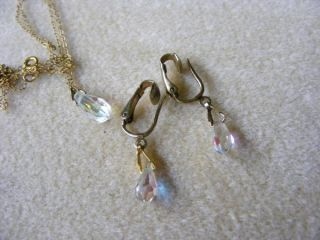aurora borealis glass crystal tear drop necklace clip earrings set