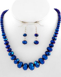 Vintage Blue Aurora Borealis Glass Crystal Necklace Earrings Set