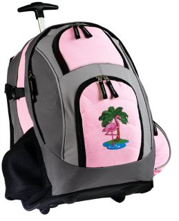 Pink Flamingo Rolling Backpack Cute Backpacks with Wheels School Bags