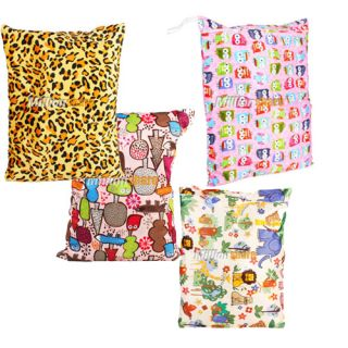 4PCS Wet Dry Bag Baby Cloth Diaper Bag Baby Diaper Bag Soft Printing