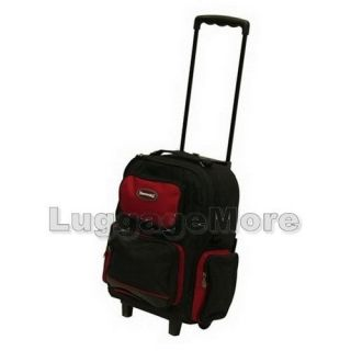 16 5 Red Rolling Backpack Wheeled School Bookbag Travel Carry on Drop