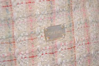 Chanel Cream Ivory Red Pink Green Tweed Fringe Jacket Skirt Suit 44