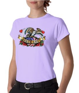 Biker Babe Eagle Motorcycle Ladies Tee Shirt